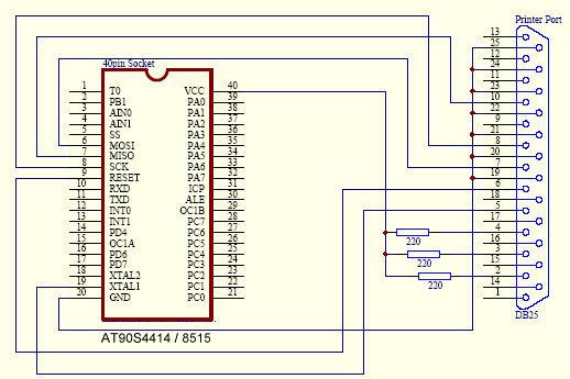 Принципиальные схемы.  Для программирование процессора AT90S8535 необходимо подключить.  Контакт 5 разъема DB25...