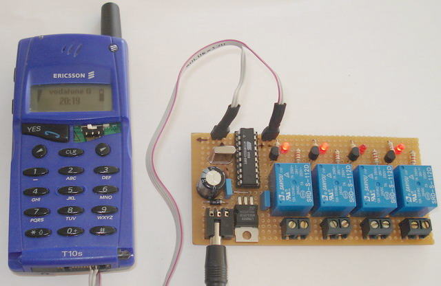 sms controller, with attiny2313 and t10s mobile phone